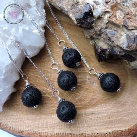 Lava Stone Essential Oil Diffuser Pendant Necklace